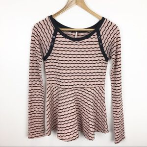 Free People Top Blouse Tunic Pink Black Peplum XS